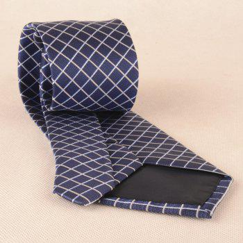 Checked Pattern Skinny Neck Tie - CERULEAN