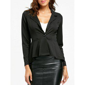 Flounce High Low One Button Blazer - BLACK BLACK