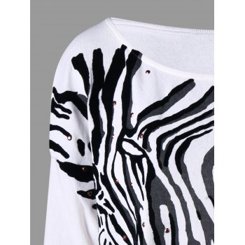 T-shirt à encolure scoptique Zebra - Blanc 2XL