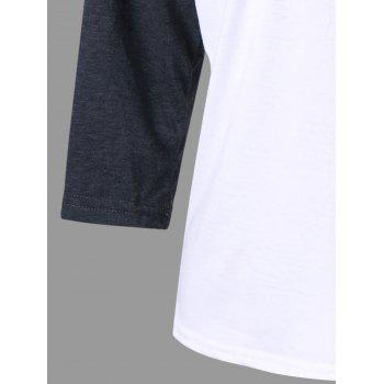Graphic Print Raglan Sleeve Tee - WHITE L