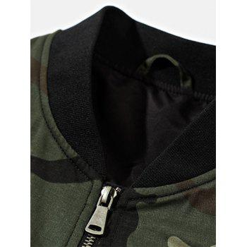 Patch Design Zip Up Camouflage Bomber Jacket - DARK AUBURN M