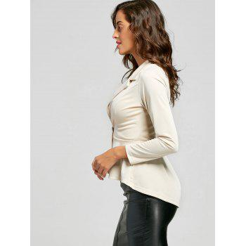 Flounce High Low One Button Blazer - Abricot S