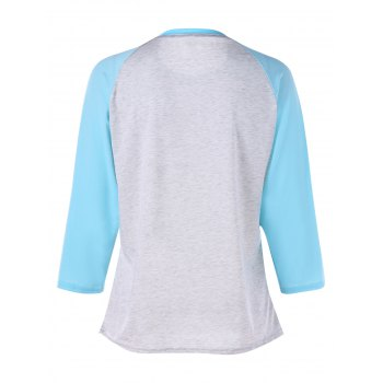 Graphic Print Color Block Raglan Sleeve Tee - GRAY GRAY