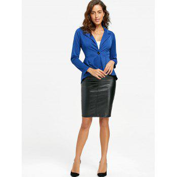 Flounce High Low One Button Blazer - BLUE BLUE