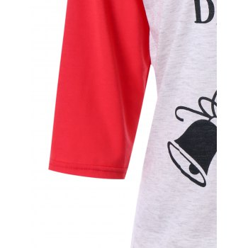 Christmas Jingle Belly Print Raglan Sleeve Tee - RED L