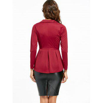 Flounce High Low One Button Blazer - Rouge vineux 2XL