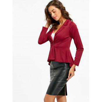 Flounce High Low One Button Blazer - WINE RED WINE RED