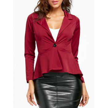 Flounce High Low One Button Blazer - WINE RED L