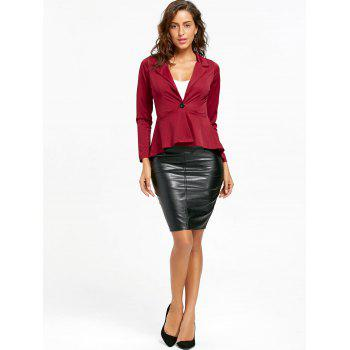 Flounce High Low One Button Blazer - WINE RED S