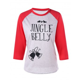 Christmas Jingle Belly Print Raglan Sleeve Tee - RED RED