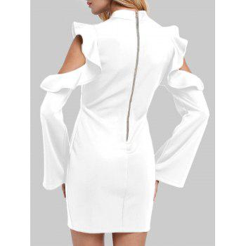 Mock Neck Ruffles Cut Out Gaine Robe - Blanc S