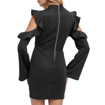 Mock Neck Ruffles Cut Out Gaine Robe - Noir L