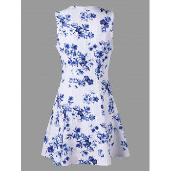 Floral Print Sleeveless Skater Dress - WHITE WHITE