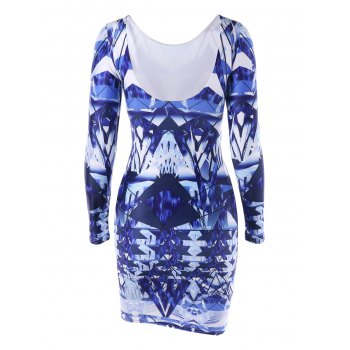 Long Sleeve Backless Printed Bodycon Dress - L L