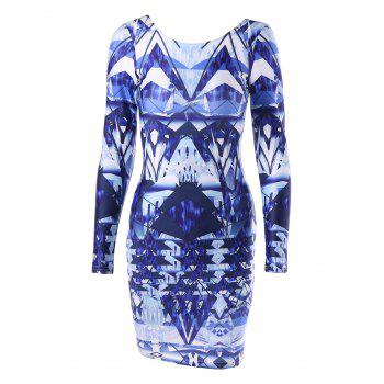 Long Sleeve Backless Printed Bodycon Dress - COLORMIX L