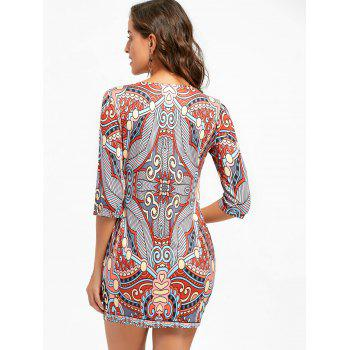 Ethnic Print Bodycon Mini-robe - multicolorcolore XL