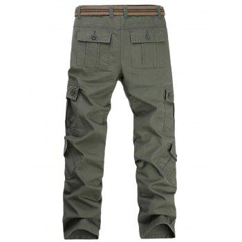 Pockets Straight Leg Cargo Pants - ARMY GREEN 36