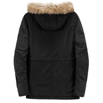 Multi Pockets Zipper Up Hooded Parka Coat - BLACK M