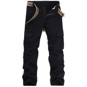 Pockets Straight Leg Cargo Pants - BLACK 32
