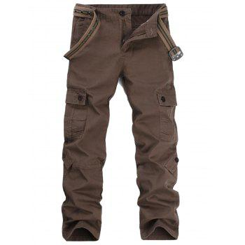 Pockets Straight Leg Cargo Pants - COFFEE COFFEE