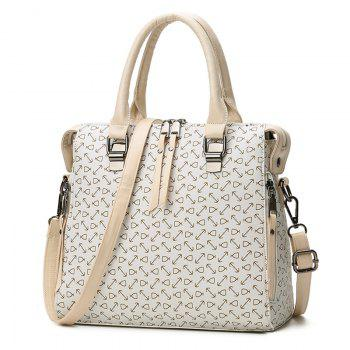 Faux Leather Buckle Strap Arrow Handbag - BEIGE