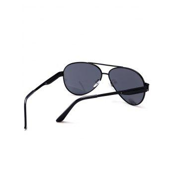 Vintage Full Frame Crossbar Pilot Sunglasses - BLACK GREY