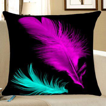 Feathers Printed Home Decor Throw Pillow Case - BLACK W18 INCH * L18 INCH