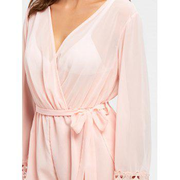 Sheer Back Slit Surplice Romper - M M