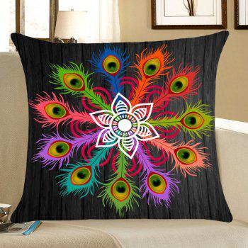 Peacock Feathers Pattern Square Throw Pillow Case - COLORFUL COLORFUL