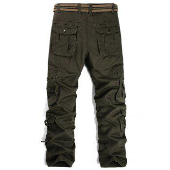 Pleat Pockets Straight Leg Cargo Pants - ARMY GREEN 36