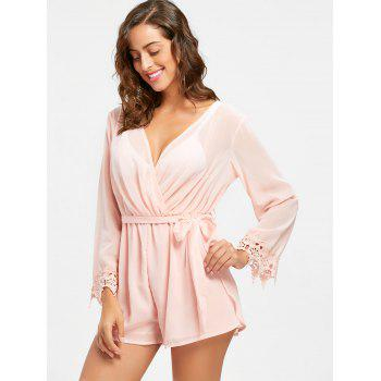 Sheer Back Slit Surplice Romper - PINK PINK
