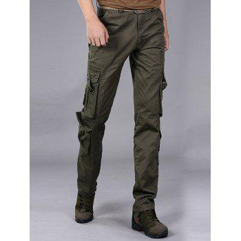 Pleat Pockets Straight Leg Cargo Pants - 38 38
