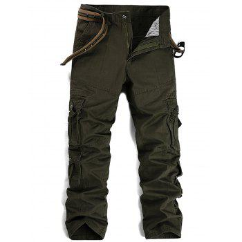 Pleat Pockets Straight Leg Cargo Pants - ARMY GREEN 38