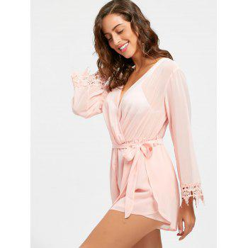 Sheer Back Slit Surplice Romper - PINK S