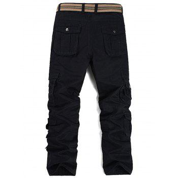 Pleat Pockets Straight Leg Cargo Pants - BLACK 38