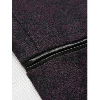 Lapel Jacquard Edging One Button Blazer - Bordeaux XL