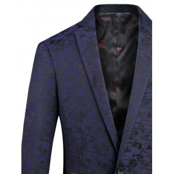 Lapel Jacquard Edging One Button Blazer - Bleu Foncé 3XL