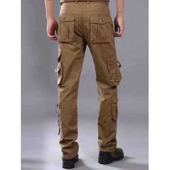 Pleat Pockets Straight Leg Cargo Pants - KHAKI 38