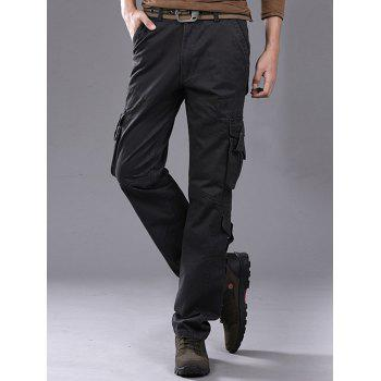 Pleat Pockets Straight Leg Cargo Pants - DEEP GRAY 34
