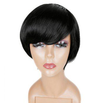 Short Oblique Fringe Straight Human Hair Wig - JET BLACK JET BLACK