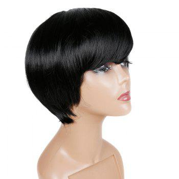 Short Oblique Fringe Straight Human Hair Wig -  JET BLACK
