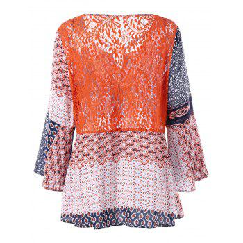 Plus Size Lace Panel Patchwork Blouse - FLORAL 3XL