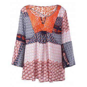 Plus Size Lace Panel Patchwork Blouse - FLORAL FLORAL