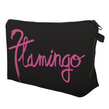Print Flamingo Patchwork Cosmetic Bag - BLACK