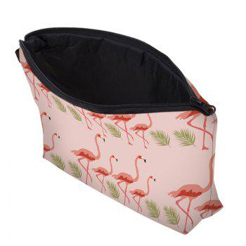 Print Flamingos Contrasting Color Cosmetic Bag -  SHALLOW PINK