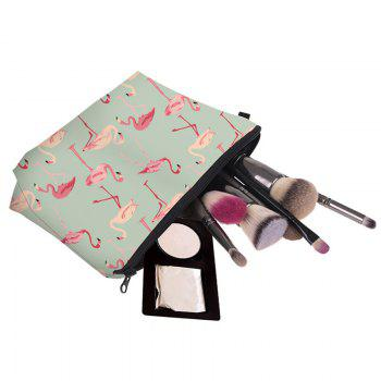 Print Flamingos Contrasting Color Cosmetic Bag - FRESH