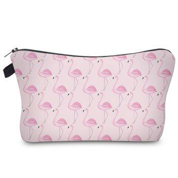 Print Flamingos Contrasting Color Cosmetic Bag - BABY PINK BABY PINK