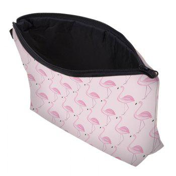 Print Flamingos Contrasting Color Cosmetic Bag - BABY PINK