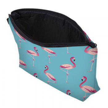 Print Flamingos Contrasting Color Cosmetic Bag -  WINDSOR BLUE