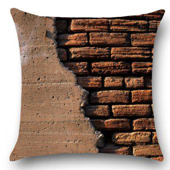 Broken Brick Wall Print Pillow Case - BROWN W18 INCH * L18 INCH